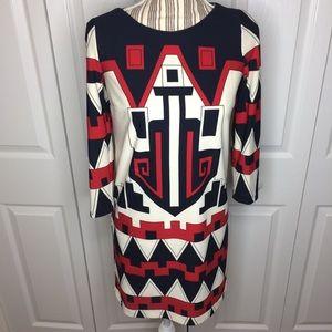 Tibi red/navy blue/ white geometric print dress